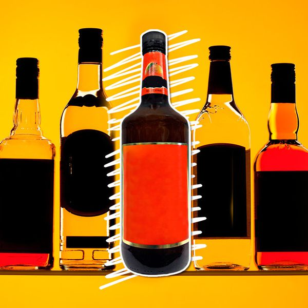 An orange-hued photo illustration of various liquor bottles with the center bottle emphasized by white hand-drawn lines