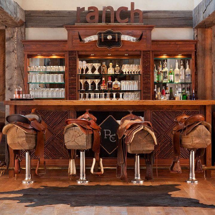The Ranch at Rock Creek bar with saddled bar stools