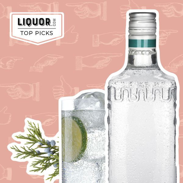 Photo composite of a bottle of gin next to a gin and tonic and a juniper branch.