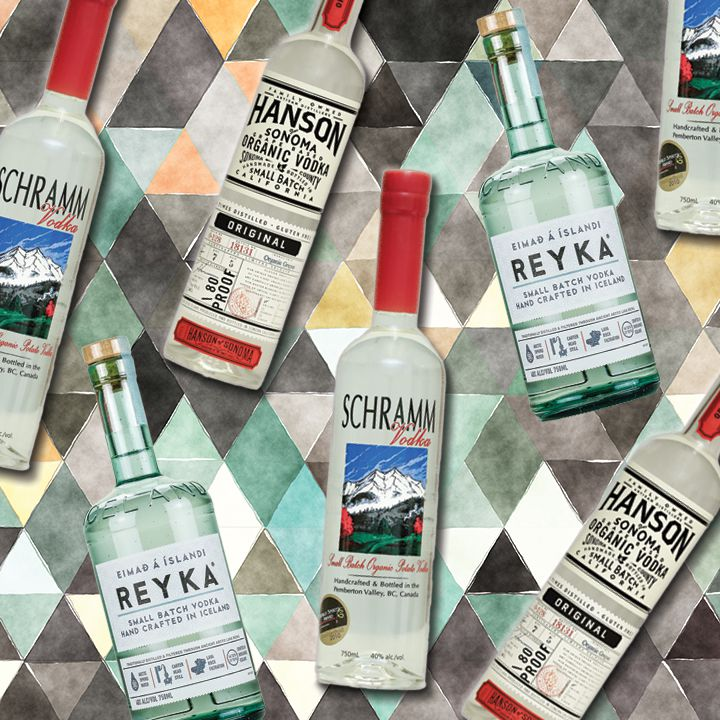 a collage of organic vodka bottles on a brightly colored diamond background