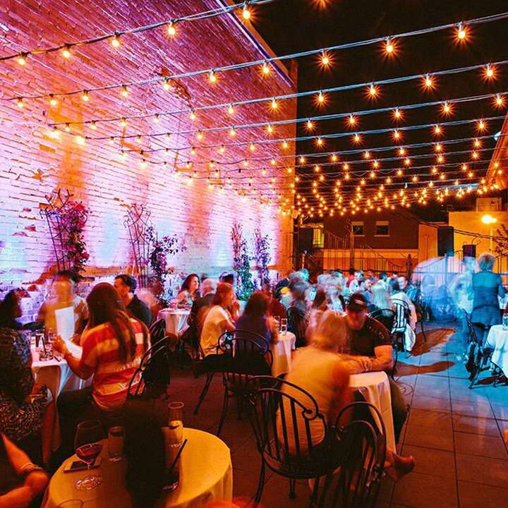 Plonk in Montana, with a patio strung overhead with twinkling lights