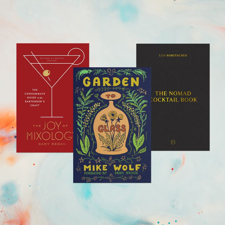 Bartending book composite with three titles (The Joy of Mixology, Garden to Glass and The NoMad Cocktail Book) against a gray, orange, and blue watercolor background