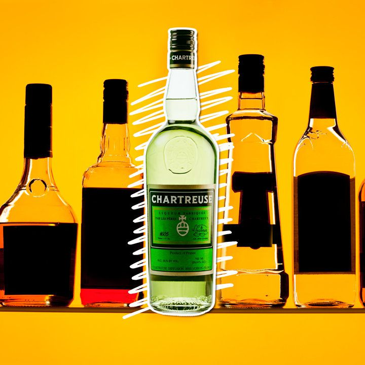 A bottle of Green Chartreuse is centered on an orange backdrop with white, squiggly lines behind it. Flanking the Chartreuse are other bottles, their labels darkened out