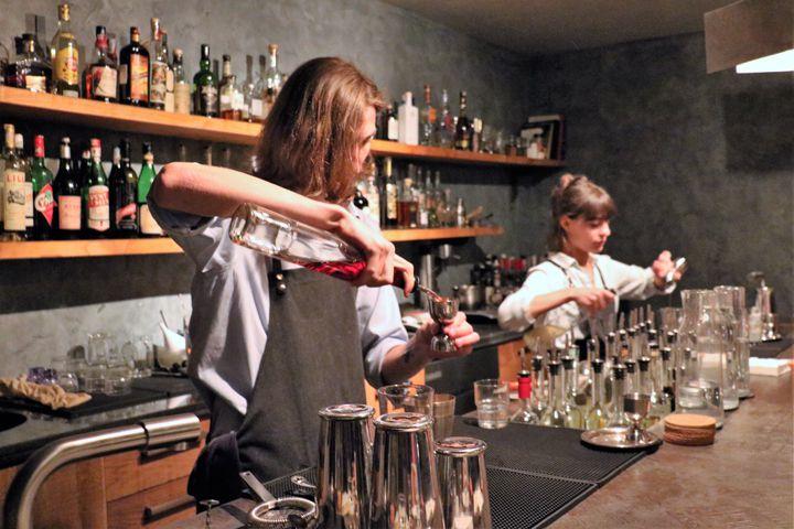 Andria Siradze (left) and Tatiana Ghvinashvili mixing cocktails with chacha at 41 Gradus