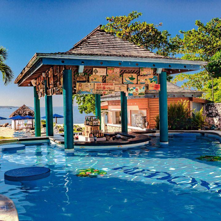 Hedonism II swim-up bar in Jamaica