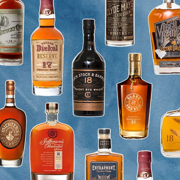 collage of aged bourbon and rye bottles