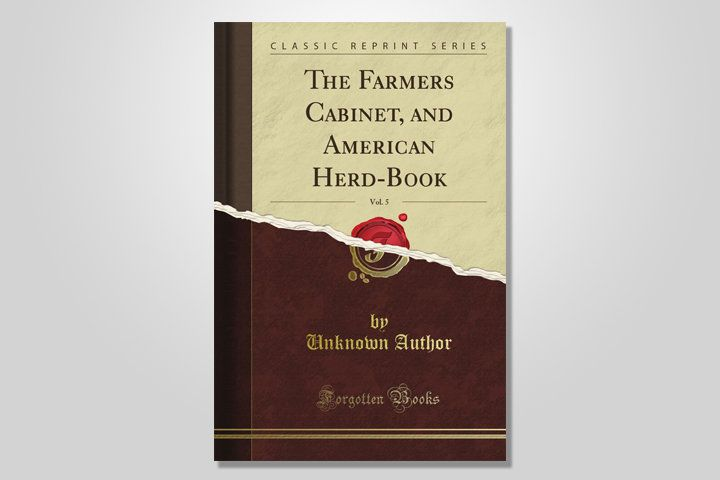 """A photo composite of the book """"The Farmers Cabinet, And American Herd-Book"""" with a false tear down the center splitting the cover into two shades of brown."""