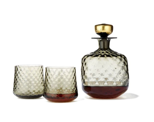 DeCicio Glass Whiskey Decanter in Antique Grey with Gold Stopper