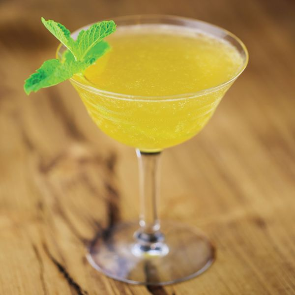 yellow-hued old cuban cocktail with mint garnish, served in a coupe on a wooden surface