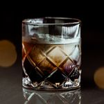black russian cocktail in a crystal-cut rocks glass