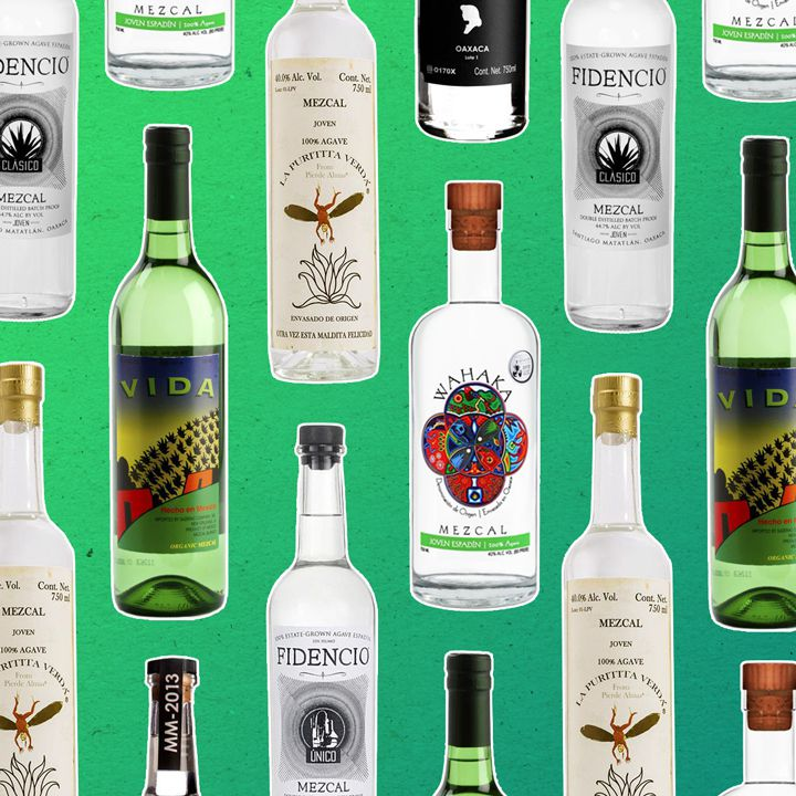a collage of mezcal bottleson a gradiated light-green backdrop