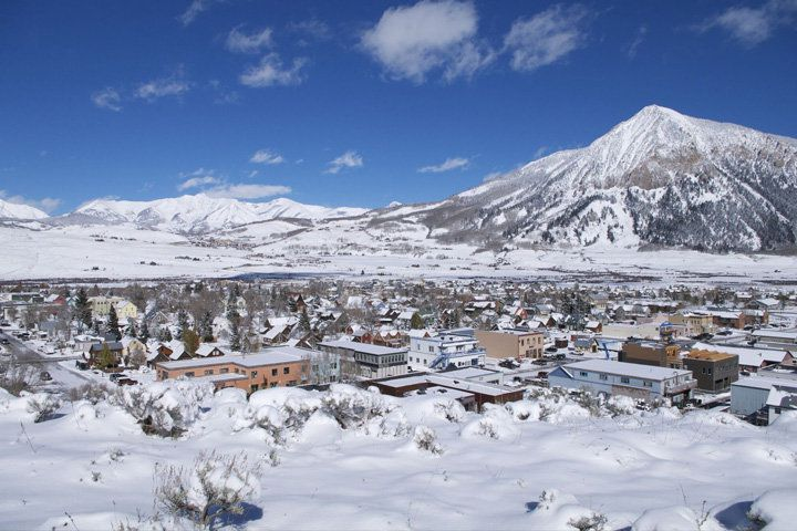 A wide angle view of Crested Butte, Colorado, where Montanya Distillery is located