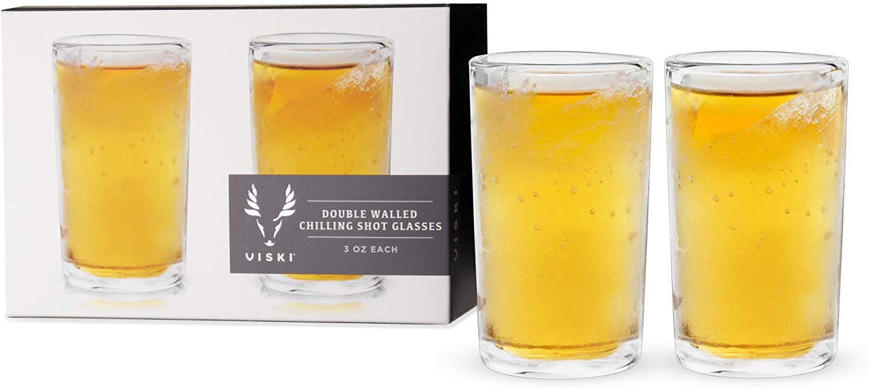 Viski Raye Double Walled Shot Glasses Liquor Chilling Drinkware