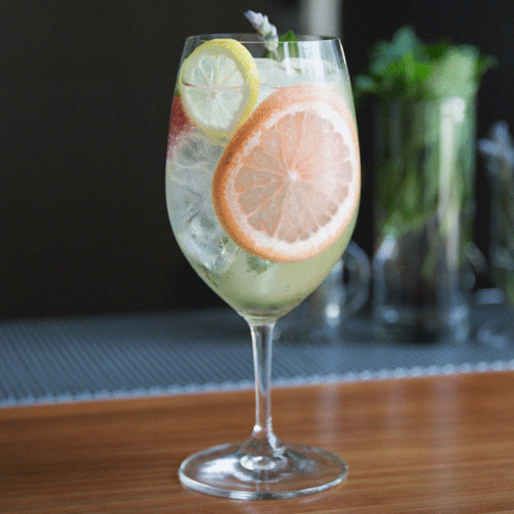 garden gin & tonic cocktail