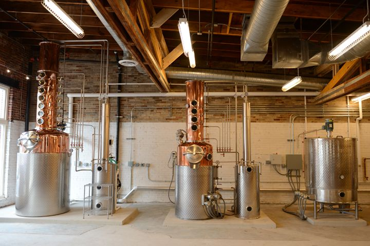 Copper column stills at Catoctin Creek Distillery in Virginia that are used to make its Pearousia Barrel Old Tom Watershed gin