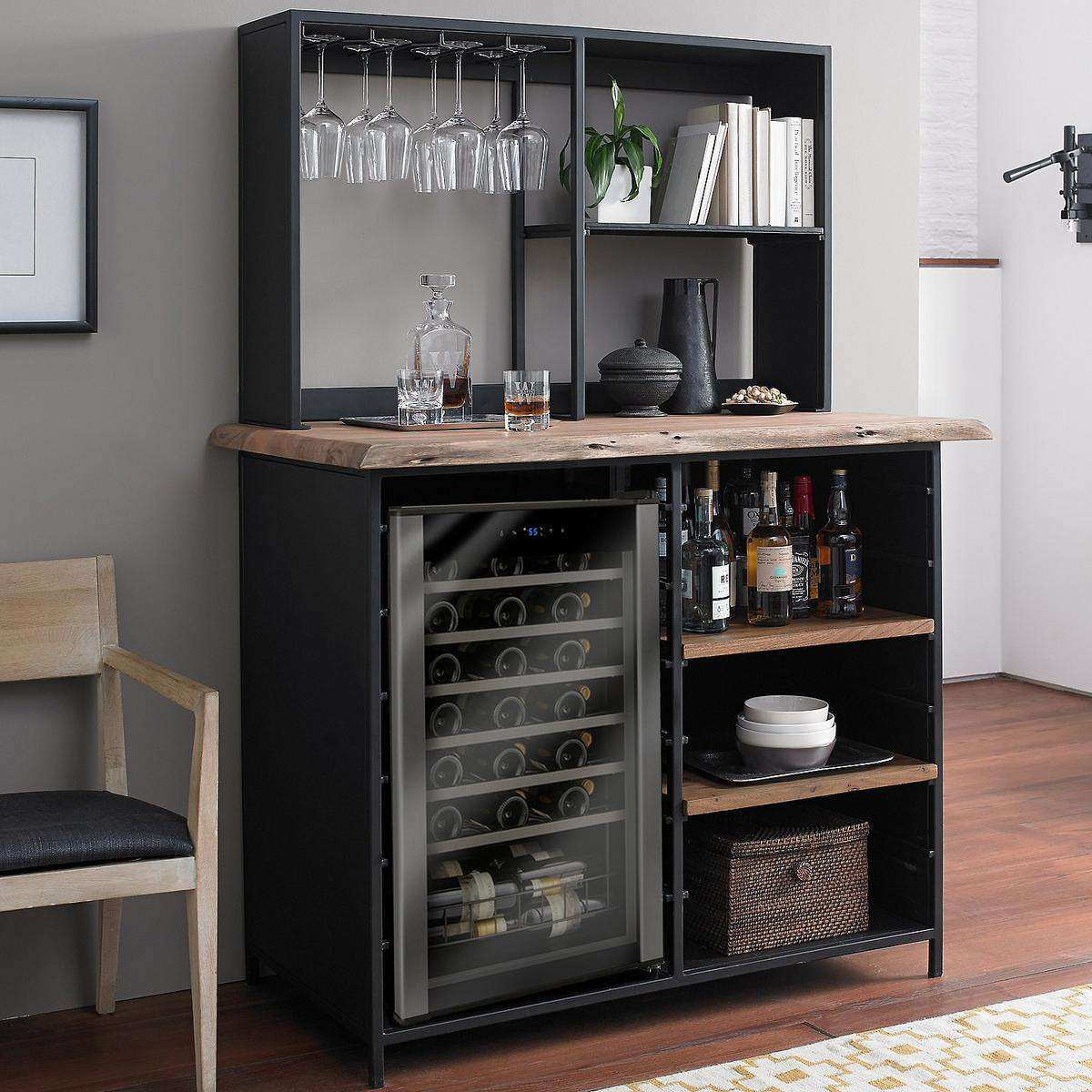 Morgon Live Edge Metal and Wood Wine Bar with Wine Refrigerator