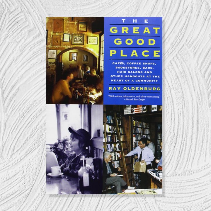 The Great Good Place cover featuring a blue block of text in the upper right quadrant and vintage photos in the other three around it