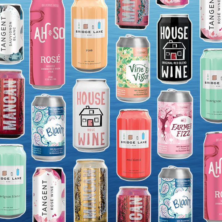 a collage of canned wines on a photo of open water