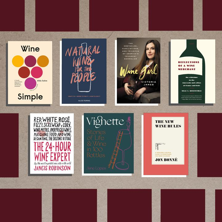 wine books composite with beige and burgundy geometric background