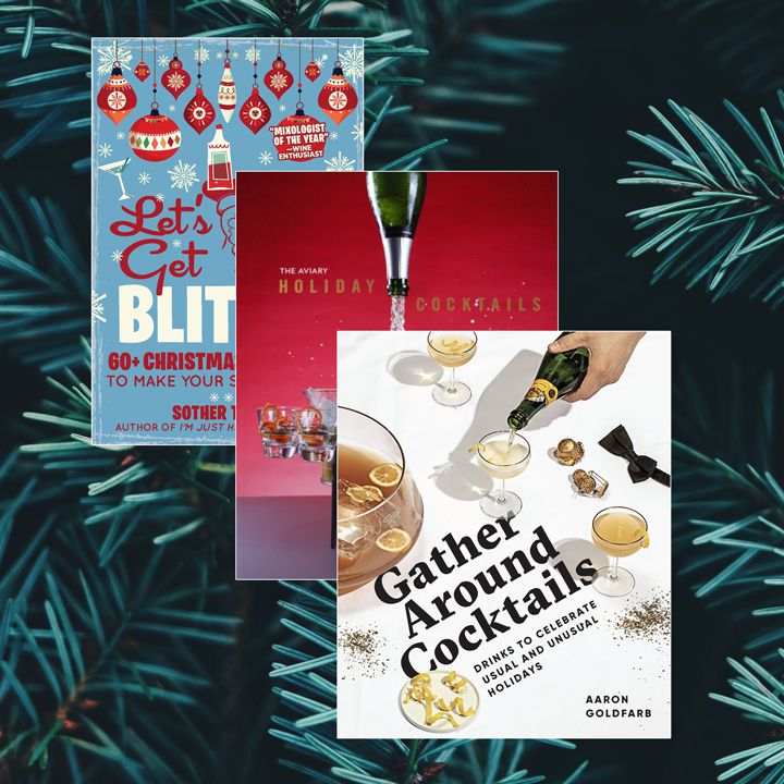 Photo composite of three timeless holiday books stacked on a vertical diagonal against a background of pine branches
