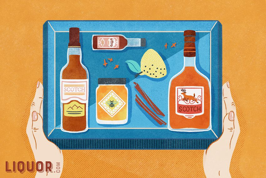 an illustration of a scotch of the month club box