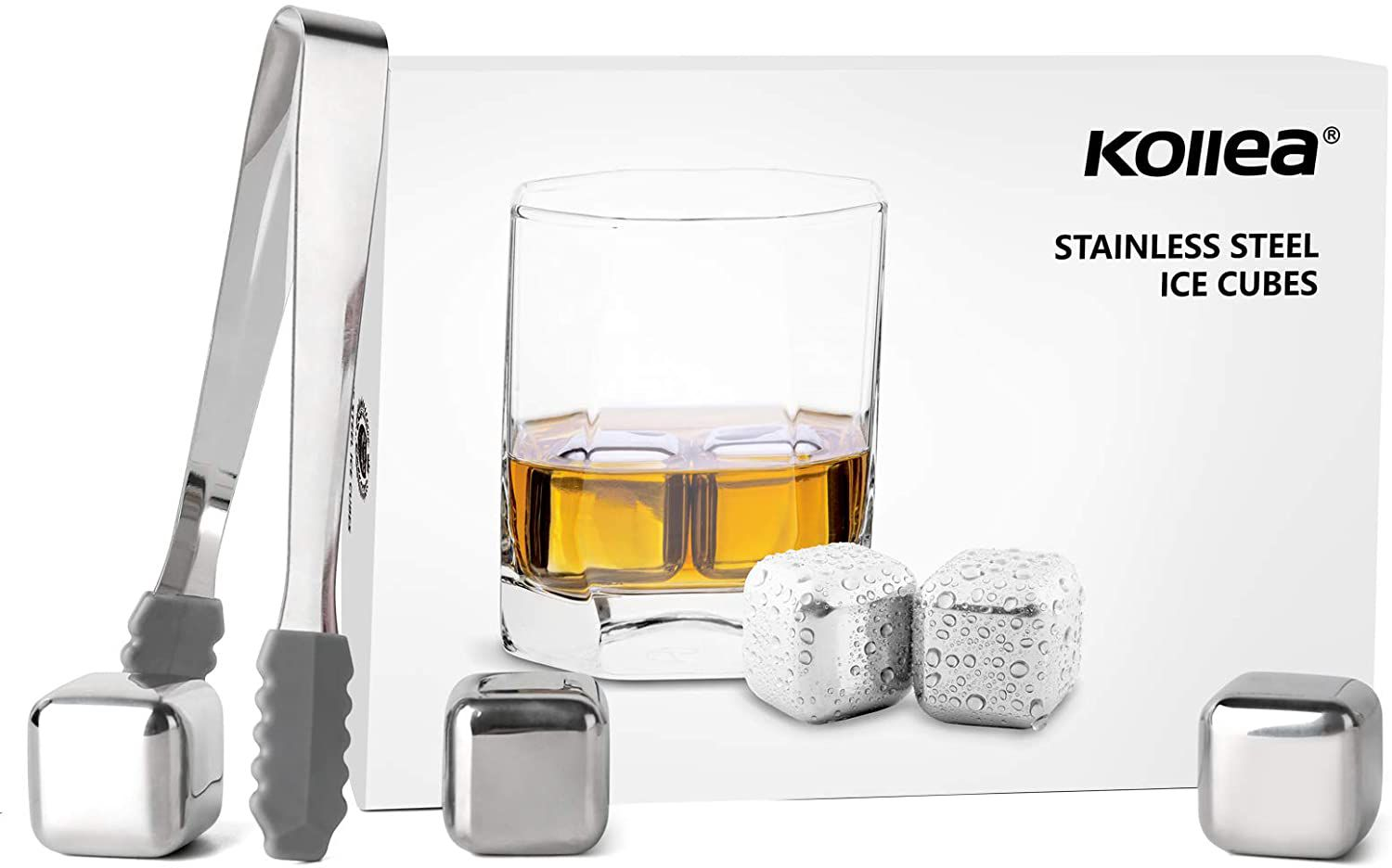 Kollea Stainless Steel Chilling Cubes Reusable Ice Cube Whiskey Stones f