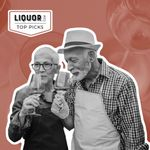 Photo composite of an older couple trying wine.