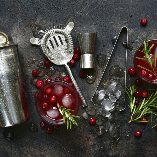 Winter christmas cocktail with cranberry and rosemary